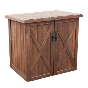 オールドカントリー調オープントップストッカー ダークブラウン 収納庫 木製収納庫 木製物置   ベランダ収納庫  収納ボックス 屋外 木製 ロータイプ|ys-prism