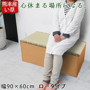 畳収納ユニット ロー い草 幅90×60cm ナチュラル 畳ユニット 収納ベンチ 収納スツール 収納畳 高床式 畳ボックス 畳ベンチ 畳ベッド 畳収納ボックス 腰掛け|ys-prism