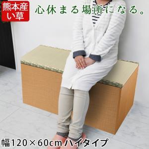 畳収納ユニット ハイ い草 幅120×60cm ナチュラル 畳ユニット 収納ベンチ 収納スツール 収納畳 高床式 畳ボックス 畳ベンチ 畳ベッド 畳収納ボックス 腰掛け|ys-prism