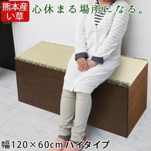 畳収納ユニット ハイ い草 幅120×60cm ブラウン 畳ユニット 収納ベンチ 収納スツール 収納畳 高床式 畳ボックス 畳ベンチ 畳ベッド 畳収納ボックス 腰掛け|ys-prism