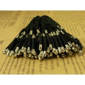 根付紐 編込み携帯ストラップ  黒×銀シルバー 約100本セット