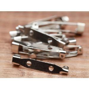 ブローチピン(約3cm)10個セット シルバー 2つ穴 ブローチ金具 造花ピン コサージュピン アクセサリーパーツ 手芸材料 基礎金具 素材