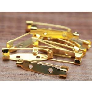 ブローチピン(約3cm)10個セット ゴールド 2つ穴 ブローチ金具 造花ピン コサージュピン アクセサリーパーツ 手芸材料 基礎金具 素材