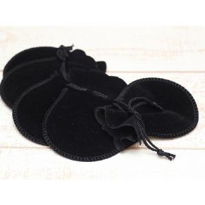 ジュエリー袋(約7.5×9.2cm)5枚セット 黒 ベロア調...