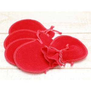 ジュエリー袋(約7.5×9.2cm)5枚セット 赤 ベロア調 ベルベット調 ジュエリーケース ポーチ...