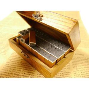 ハンコセット ゴシック風 9mm×12mm アルファベット 大文字 小文字 数字 記号 木箱付 外箱サイズ147mm×85mm スタンプ ハンドメイド|ysayakobo