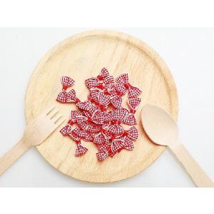ギンガムチェック リボン 約25個 赤×白 2.5×1.5c...