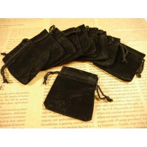 ジュエリー袋 四角(約8cmx7cm)10枚セット 黒 ベロア調 ベルベット調 ジュエリーケース ポ...