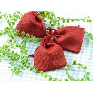 ジュエリー袋 亜麻袋(約11.5x8.5cm)約10枚 レッド リネン ジュエリーケース ポーチ 巾...