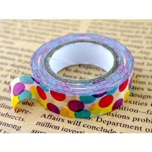 マスキングテープ 幅2cm 10ヤード 幅15mm 白地に水色ピンク黄水玉柄 コラージュ アイディア ハンドメイド 可愛い マステ 資材 テープ|ysayakobo