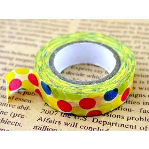 マスキングテープ 幅2cm 10ヤード 幅20mm 白地に青赤黄水玉柄 コラージュ アイディア ハンドメイド 可愛い マステ 資材 テープ 手作り|ysayakobo