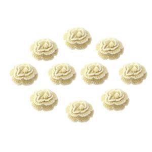 毛糸フラワーコサージュ(約75mm×約75mm)10個セット 白 ホワイト 卒簡単 髪飾りやブローチに ハンドメイド 芸用品 芸材料 芸用品店|ysayakobo