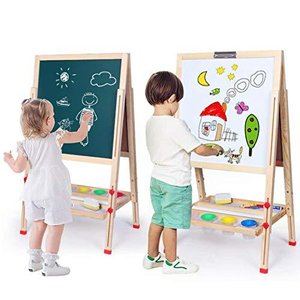 お絵かきボード 子供黒板 ホワイトボード 木製イーゼル 【高さ調整可能】【折りたたみ式 】収納トレイ付き 落書き 子供たちが学ぶのを助ける(M タイプ|yschoice