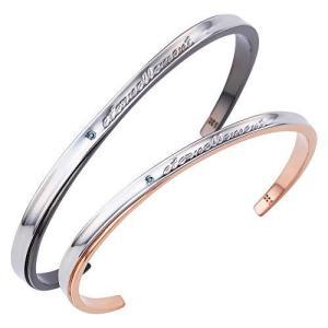 [ ホワイトクローバー ] ペアバングル カップル 人気 サージカルステンレス ブルーダイヤモンド ブランド 4SBG029GO&4SBG030BK yschoice