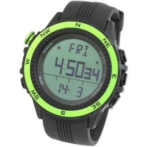 [ラドウェザー] アウトドア腕時計 ドイツ製センサー 高度計 気圧計 温度計 方位計 天気予測 登山 スポーツ時計 (グリーン(通常液晶)) yschoice
