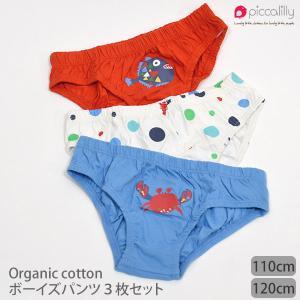 オーガニックコットン ボーイズパンツ 3枚セット SeaLife /Piccalilly (敏感肌 コットン 子供 服 子供用 子供服)|yshopharmo
