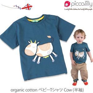 オーガニックコットン ベビーTシャツ Cow (半袖) / piccalilly (ベビー服 赤ちゃん ベビーウェア 赤ちゃん服 新生児 綿100% tシャツ)|yshopharmo