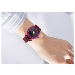 レディース 星空ウォッチ 腕時計 レディースウォッチ ドレスウォッチ 磁気クラスプ 美しい レディース腕時計 金属 パープル ブラック 送料無料 ポイント消化|ysmya|02