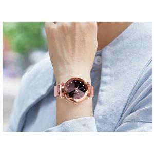 レディース 星空ウォッチ 腕時計 レディースウォッチ ドレスウォッチ 磁気クラスプ 美しい レディース腕時計 金属 パープル ブラック 送料無料 ポイント消化|ysmya|03