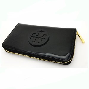 09e094bb9ade TORY BURCH トリーバーチ ラウンドファスナー長財布 18169285-001 STACKED PATENT ZIP CONTINENTAL  黒パテント ...