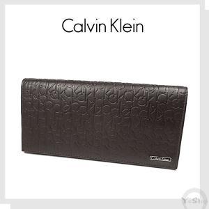 Calvin Kleinカルバン クライン 長財布 メンズ  牛革  レザー ロゴ型押し|ysy