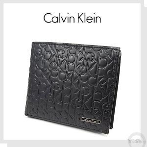 [訳あり] 【Calvin Klein】 カルバン クライン 二つ折り財布 メンズ  牛革  レザー ロゴ型押し [内側ポンド跡あり] ysy