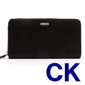 Calvin Klein カルバンクライン ラウンドファスナー 長財布  79441  BK  ブラック CK レザー メンズ ロゴプレート|ysy