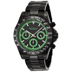 ブルッキアーナBROOKIANA クロノグラフ 10気圧防水 グリーン×オールブラックメタル 腕時計 BA1701-BKGR メンズ 腕時計|ysy