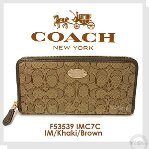 アウトレット COACH コーチ シグネチャー ラウンドファスナー 長財布 カーキ×ブラウン F53539 IMC7C [汚れ・キズ・その他]|ysy