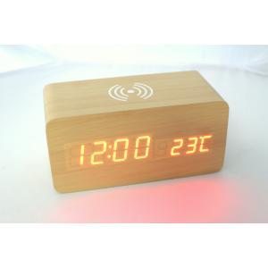 ワイヤレスチャージ ウッドクロック ウッド 時計+ワイヤレスチャージャー 2WAY ナチュラル|ysy