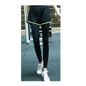 ヨガ スポーツウエア ショートパンツ付きレギンス  ウォーキング フィットネス ジム ランニング ブラック×グリーン Lサイズ|ysy