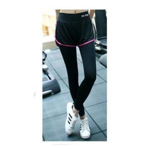ヨガ スポーツウエア ショートパンツ付きレギンス  ウォーキング フィットネス ジム ランニング ブラック×ピンク Lサイズ|ysy