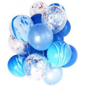 YSAK 風船 バルーン パーティー 誕生日 バースディ 結婚式 ウエディング 飾り マーブル 1セット20個入り (青)|ysy