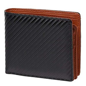 YSAK メンズ財布 小銭入れ付き 財布 2つ折り イタリアンレザー カーボン加工 レザー|ysy
