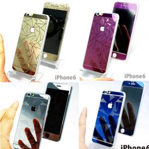 iPhone6専用 両面保護強化デザインガラスパネル ゴールド パープル シルバー ブルー|ytaodirect