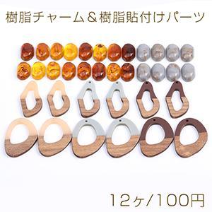 樹脂チャーム 不規則フレーム 穴なし 38×40mm ブラウン【4ヶ】 yu-beads-parts