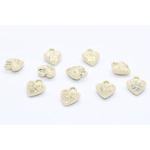 アクリルチャーム ハート 花枝とLOVE付き 10×12mm イェローページュ【12g(約50ヶ)】|yu-beads-parts|02