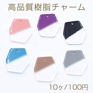 高品質樹脂チャーム 二色 変形六角 1穴 18×20mm 全6色【10ヶ】|yu-beads-parts