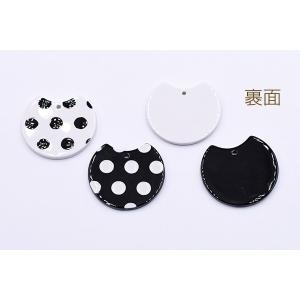 アクリルパーツ プレート 変形丸型 1穴 27×30mm ドット【10ヶ】|yu-beads-parts|03
