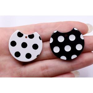 アクリルパーツ プレート 変形丸型 1穴 27×30mm ドット【10ヶ】|yu-beads-parts|05