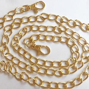 アルミニウムチェーンショルダー持ち手16 ゴールド 120cm yu-beads-parts