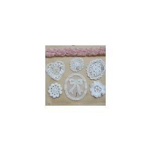 レースワッペンモチーフ  ミックス2  ホワイト|yu-beads-parts