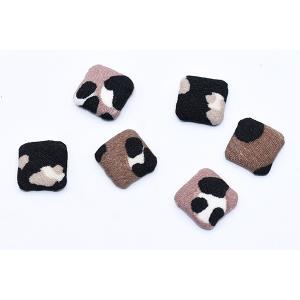 デコパーツ 包みボタン 布地 正方形 14×14mm レオパード柄【15ヶ】|yu-beads-parts|06