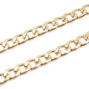 フラットワイヤーチェーン 5mm ゴールド|yu-beads-parts