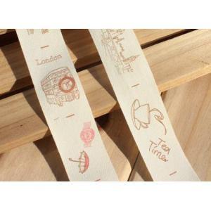 100%綿手作り商標  スケッチスタイル  ロンドンの印象  幅約2.5cm|yu-beads-parts|02