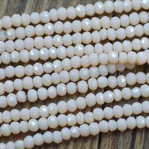 ボタンカットグラスビーズ 6ベージュ 2x2mm(1連/約200ヶ)|yu-beads-parts