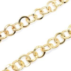 鉄製チェーン21 丸 7mm ゴールド|yu-beads-parts