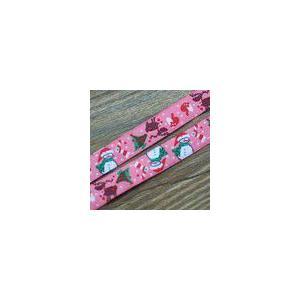 2クリスマスモチーフのチロルテープ 幅16mm ピンク(10ヤード) yu-beads-parts