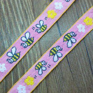 10動物のチロルテープ 幅18mm ピンク/イエロー(5ヤード) yu-beads-parts