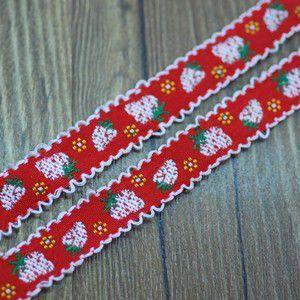 6果物のチロルテープ 幅16mm レッド/ホワイト(5ヤード) yu-beads-parts